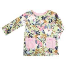 Gill & El Gweni Long Sleeve Top With Pocket Motif Flower / Atasan Anak Perempuan - Hijau Soft