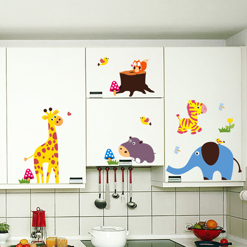 Giraffe Elephant Bear Squirrel Birds Jamur Wall Decal PVC Rumah Sticker Rumah Vinyl Dekorasi Kertas WallPaper Ruang Tamu Kamar Tidur Dapur Gambar Seni DIY Murals Girls Boys Kids Nursery Baby Playroom Decor-Intl