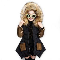 Girl Pakaian Anak Pakaian Anak-anak Musim Dingin Pakaian Luar Mantel Putri Gadis Jaket Pakaian Anak-anak Hitam