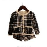 Beli Gadis Hangat Perapi Pakaian Musim Dingin Tebal Hangat Plaid Mantel Shorts Celana Anak Anak Pakaian Set Murah Tiongkok