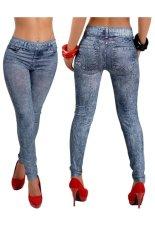 Beli Girls Fashion Elastic Faux Jean Denim Like Women Leggings Pants Blue Seken