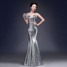 Toko Glitter Evening Elegan Long Gaun Putri Duyung Maxi Dresses Untuk Pernikahan Acara Formal Annual Ball Party Silver Terlengkap Tiongkok