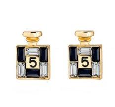 Gold Channel Earrings For Women Crystal Stud Earings Famous Brand Jewelry Brincos Pendiente