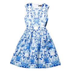 Cuci Gudang Goodstory Vintage Blue Flower White Dress Elastic Waisted