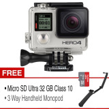 Jual Gopro Hero 4 12 Mp Silver Edition Combo Kit 3 Way Handheld Monopod Micro Sd Ultra 32 Gb Class 10