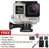 Spesifikasi Gopro Hero 4 12 Mp Silver Edition Premium Kit 3 Way Handheld Monopod Charger 3 Slot Extra 2 Battery Tas Hero Medium Micro Sd Ultra 32 Gb Class 10 Yang Bagus