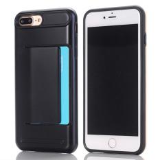 GuluGuru untuk Apple IPhone 7 Plus Case [Kartu King] Candy Hard Solid PC Hybrid Back Cover Penyimpanan Kartu Slot Pocket Cell Phone Armor Case