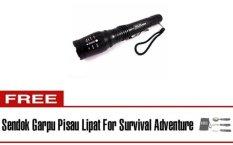 Halona - High Quality Original Senter Police T6 Bonus + Sendok Garpu Lipat Survival Adventure With Cone Lalin - Sarung Kompas/Compass 2 Battery Cas and 2 Slot Charger Ultrafire - Hitam