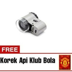 Halona - Kaca Pambesar Senter LED Bonus + Korek Api Bola Cincin Batu Akik  Mini Mikroskop/Microscope Glasses   - Silver