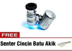 Halona - Kaca Pambesar Senter LED Bonus + Senter Batu Cincin Akik/Cincin Batu Akik  Mini Mikroskop/Microscope Best Quality - Silver