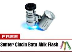 Review Toko Halona Kaca Pambesar Senter Led Bonus Senter Batu Cincin Akik Flash Cincin Batu Akik Mini Mikroskop Microscope Best Quality Silver