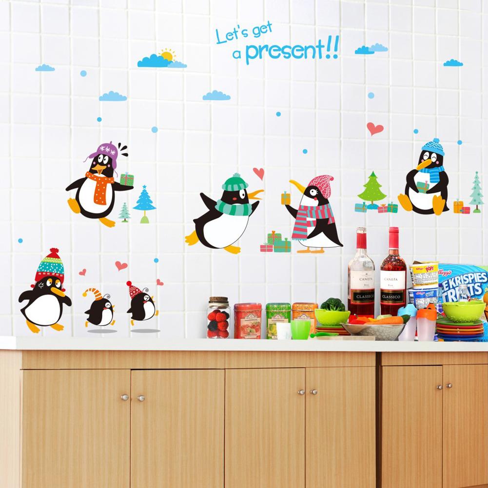 Happy Penguins Bentuk Hati Tree Wall Decal Home Sticker PVC Mural Vinyl Kertas Rumah Dekorasi Wallpaper Ruang Tamu Kamar Tidur Dapur Gambar Seni DIY untuk Anak Remaja Remaja Dewasa Pembibitan Bayi-Intl