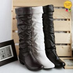 Spesifikasi Happycat 2016 Grace Wanita Kulit Sintetis Bulat Datar Merancang Ujung Lutut Sepatu Bot Tinggi Coklat 8 Bagus