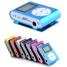Happycat LCD Screen Metal Mini Clipon MP3 Player dengan Micro TF/SD Kartu Slot dengan Kabel + Earphone (biru/Hitam/Merah/Silver/Hijau/Mawar Merah/Ungu)