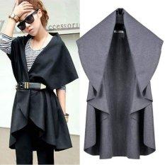 Happycat Baru Hot Sale Kaus Fesyen Wol Mantel Wanita Mulia Elegan Cape/Selendang Poncho Bungkus Selendang Mantel (Biru) (biasa)
