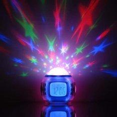 Happycat baru Global plastik L mengubah proyeksi cahaya bintang di langit musik semua kalender 1 elektronik jam weker (warna-warni) (10. 1� x 10,4 cm/3. 9� x 4,1 inci (Ha x W))