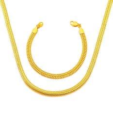 Harga High Quality Men Jewelry Set Necklace Bracelets 18K Real Gold Plated Trendy Body Chain Women 55Cm Choker Necklace Gold Chain Fullset Murah