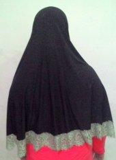 Hijab Kudus Hijab Kudus Tripel-A Clothing Jilbab Syari Jumbo Renda Bunga Hitam  - Hitam