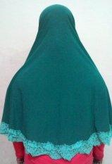 Hijab Kudus Hijab Kudus Tripel-A Clothing Jilbab Syari Jumbo Renda Bunga Tosca  - Hijau