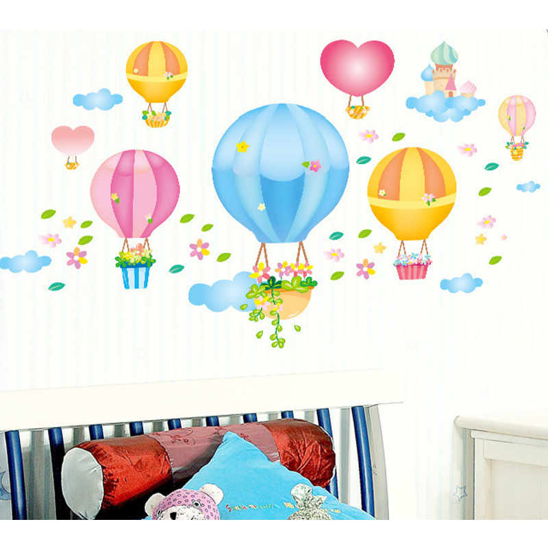 Balon Udara Panas Castles Wall Decal PVC Rumah Sticker Rumah Vinyl Dekorasi Kertas WallPaper Ruang Tamu Kamar Tidur Dapur Art Picture DIY Murals Girls Boys Kids Nursery Baby Playroom Decor-Intl