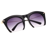 Diskon Hot Fashion Korea Unisex Retro Besar Half Frame Sunglasses Tiongkok