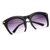 Harga Hot Fashion Korea Unisex Retro Besar Half Frame Sunglasses