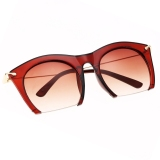 Diskon Produk Hot Fashion Korea Unisex Retro Besar Half Frame Sunglasses