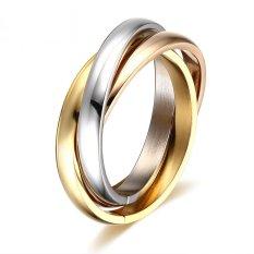 Hot Sale Klasik Pestafinger Ring 3 Putaran 18 K Platinum Berlapis Kuning Emas Fashion Merek Cincin untuk Wanita dan Pria Perhiasan