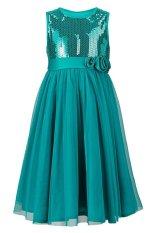 Harga Hot Sale Cute Kids Girls Fashion O Neck Tanpa Lengan Net Benang Patchwork Sequins Dekorasi Gaun Biru Yang Murah