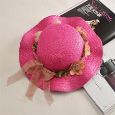 Jual Hot Fashion Indah Straw Summer Anak's Bayi Gadis Anak Berjemur Hat Beach Cap (Rose)