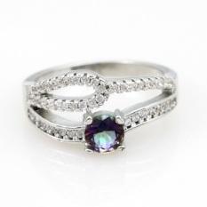 Jual Hot Fashion Mystic Topazrings untuk Wanita Circle Rhinestone Silver Cincin Pertunangan Hadiah CZ Diamond Lapis Emas Putih Perhiasan Y2863