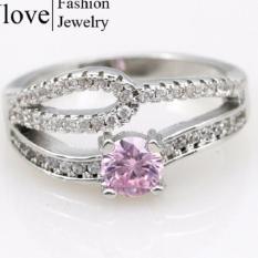 Jual Hot Fashion Pink Cincin untuk Wanita Lingkaran Berlian Imitasi Perak Cincin Pertunangan Hadiah CZ Diamond Lapis Emas Putih Perhiasan Y2863-Intl
