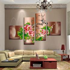 Hot Jual 4 Panel Bunga Merah Besar HD Gambar Rumah Modern Dekorasi Dinding Kanvas Cetak Lukisan Pada Kanvas untuk Living Kamar Unframed (Tanpa Bingkai)