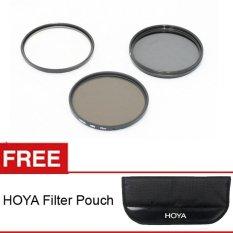 Hoya Filter Kit (UV+CPL+ND-8) - 46mm + Gratis Filter Pouch