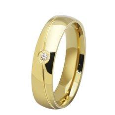 Stainless Steel 18 K Emas Berlapis Pesona Klasik Crystal Pertunangan Kawin Cincin untuk Pria dan Wanita Pengiriman Gratis