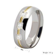 Stainless Steel 18 K Emas Disepuh Cz Pria Cincin Dengan Zirkon Perhiasan Promo Beli 1 Gratis 1