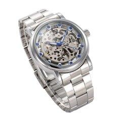 Harga Ik Hollow Jam Tangan Mekanis Otomatis Diamond Biru Bertatahkan Skala Kelas Atas Kasual Jam Tangan Mekanis Silver Dengan Silver Mesin Asli