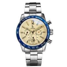 Toko Ik Steel Pria Bisnis Kasual Asli Baja Bermutu Tinggi Dengan Automatic Mechanical Watch Silver Shell Lingkaran Biru Tepung Not Specified Online