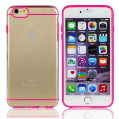 INenk PC + TPU Clear Transparan Hybrid Phone Case Cover Shell dengan Permen Bingkai Warna untuk Apple IPhone 6 Plus 5.5 Inch-Hot Pink