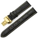 Toko Istrap 15Mm Genuine Leather Strap Bentuk Kupu Kupu Buckle Gelang Jam Untuk Golden Tone Kasus Hitam Lengkap Di Tiongkok