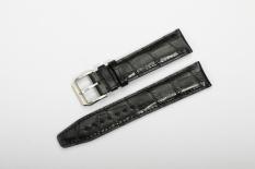 Istrap 20mm Betis Asli Kulit Embossed Alligator Grain Gelang Jam Padded Style Fit IWC Bahasa Portuges Pria-hitam-Intl
