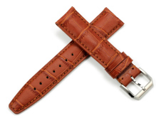 iStrap 20mm Genuine Calf Leather Embossed Alligator Grain Watch Band Padded Style fit IWC Portuguese Men - Honey Brown - Intl
