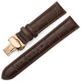 Harga Istrap 22Mm Calf Leather Gelang Jam Strap W Rose Gold Steel Tombol Tekan Deployment Buckle Brown Baru