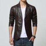 Harga Jaket Kulit Blazer Pria Casual Trend Leather Coklat Murah