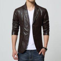 Spek Jaket Kulit Blazer Pria Casual Trend Leather Coklat Di Yogyakarta