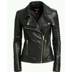 Jaket Kulit Wanita Keren Model Blazer GGS - Santai Ngantor dan Bermotor- Hitam