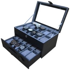 Jogja Craft - Black Grey Watch Box - Kotak Jam Tangan Isi 24