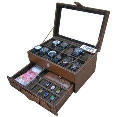 Jogja Craft - Elegan Brown Croco Kotak Tempat Jam Tangan Kombinasi Laci Tempat Perhiasan