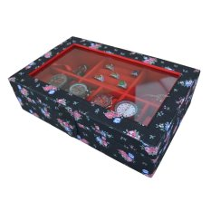 Jogja Craft - Kotak Jam Tangan Mix Tempat Accesories - Watch Box Organizer Bunga Hitam