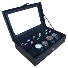 Jogja Craft Kotak Tempat Jam Tangan Kombinasi Tempat Cincin - Hitam